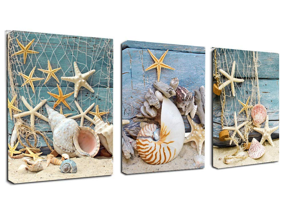 Canvas Wall Art Starfish Seashell Beach Sands Prints- 3 Panels Contemporary Pictures Canvas Painting Modern Artwork Framed for Home Decoration Ready to Hang