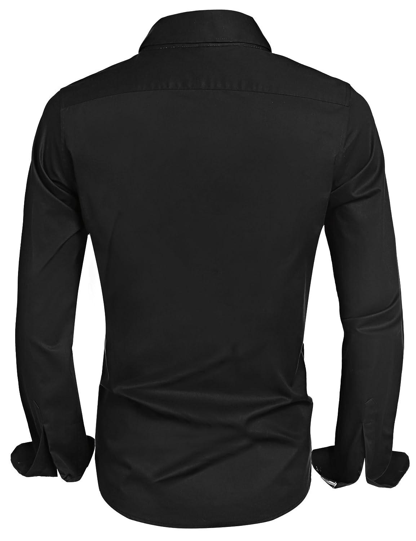 e5797f8f0 Amazon.com: Hotouch Men's Fashion Button Up Shirt Slim Fit Dress Shirt  Contrast Long Sleeve Casual Button Down Shirts: Clothing