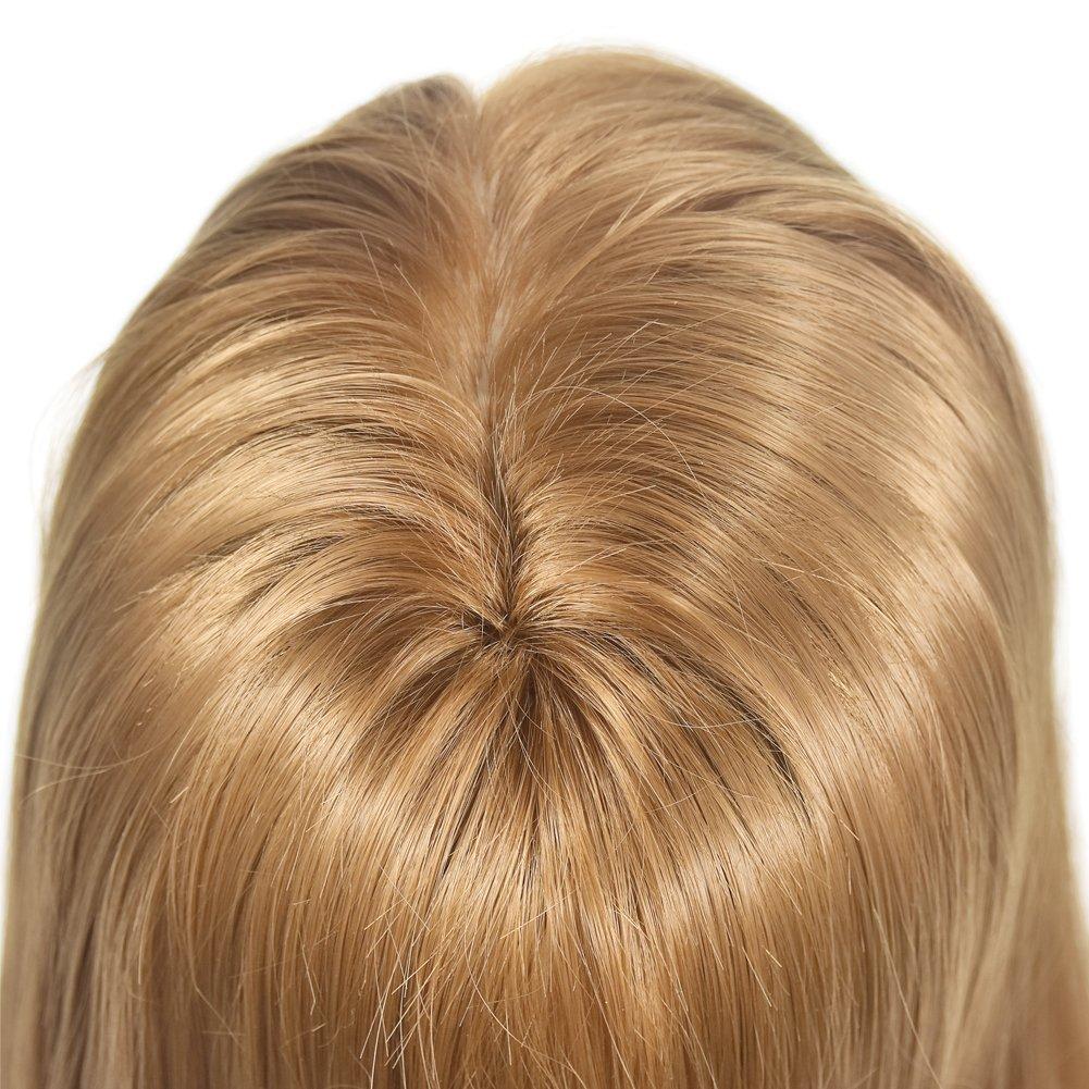 Cabeza de maniquí con pelo afro, pelo 28 % humano, para aprendizaje de cosmetología y peluquería, cabeza de muñeca, abrazadera incluida (66-71 cm): ...