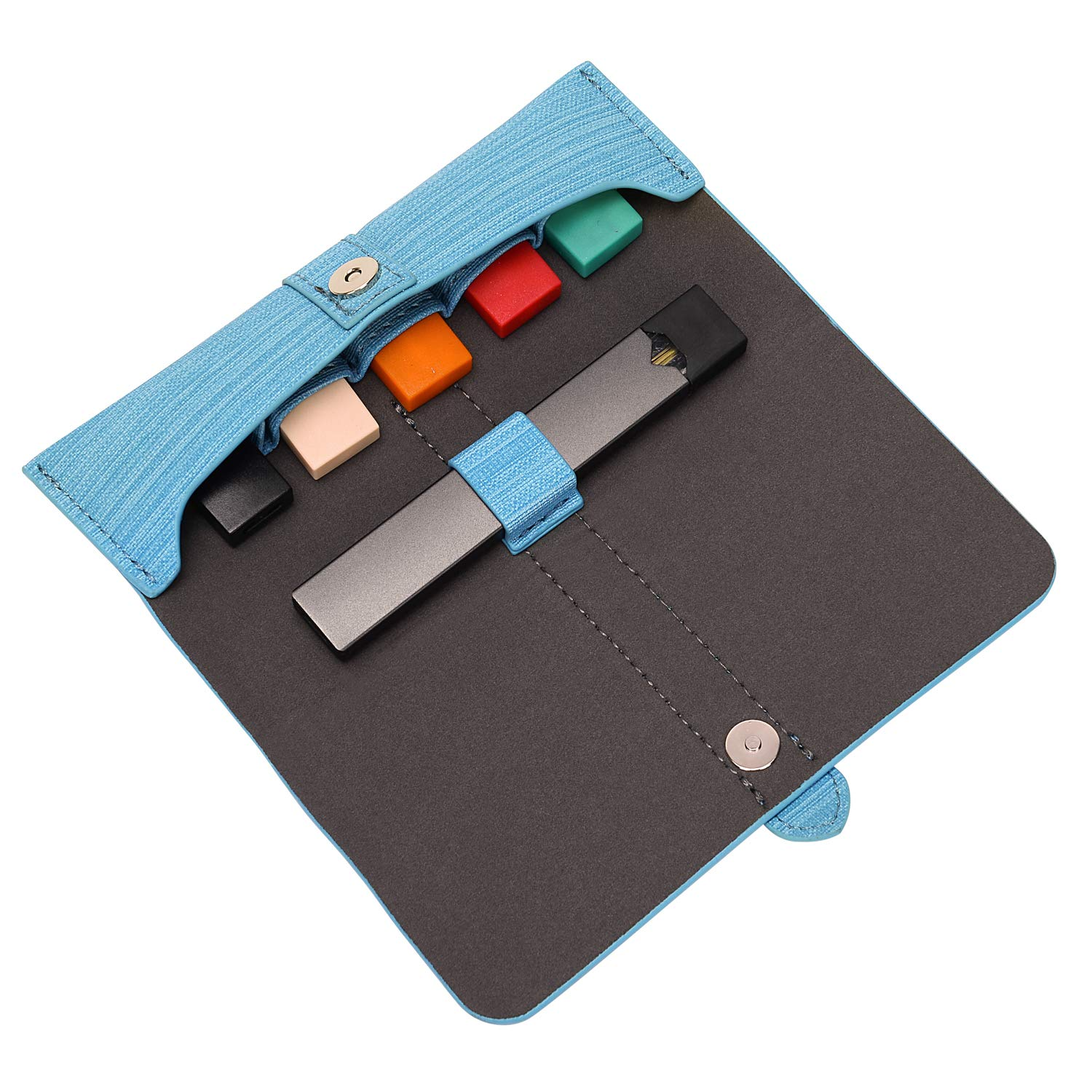 Electronic Cigarette Case. Easily Opens with Magnet Snap. Slim, Compact, Stylish for JUUL. Durable Faux Vegan Leather Lasts,(Device not Included) (Caribbean Blue)