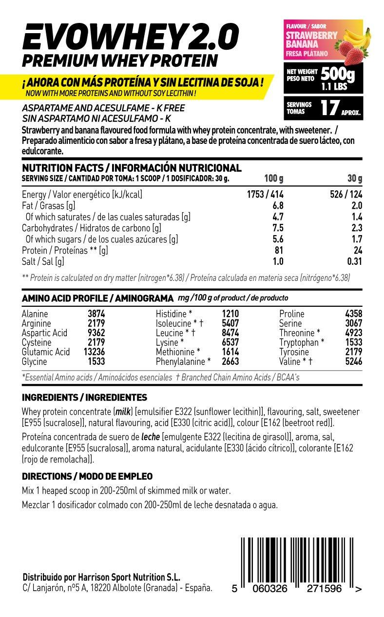 Whey Protein Concentrate (WPC) de HSN Sports - Concentrado de Proteína de Suero Evowhey 2.0 - Sabor Fresa Banana - 500 gr: Amazon.es: Salud y cuidado ...