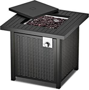 """28"""" Fire Table, Propane Fire Pit Table with Anti-Corrosion Coating, 50000 BTU Auto-Ignition, Gas Fire Pit Table with Lid, ,Intelligent Control, 2-in-1 Fire Pit Table for Courtyard/Patio/Balcony"""