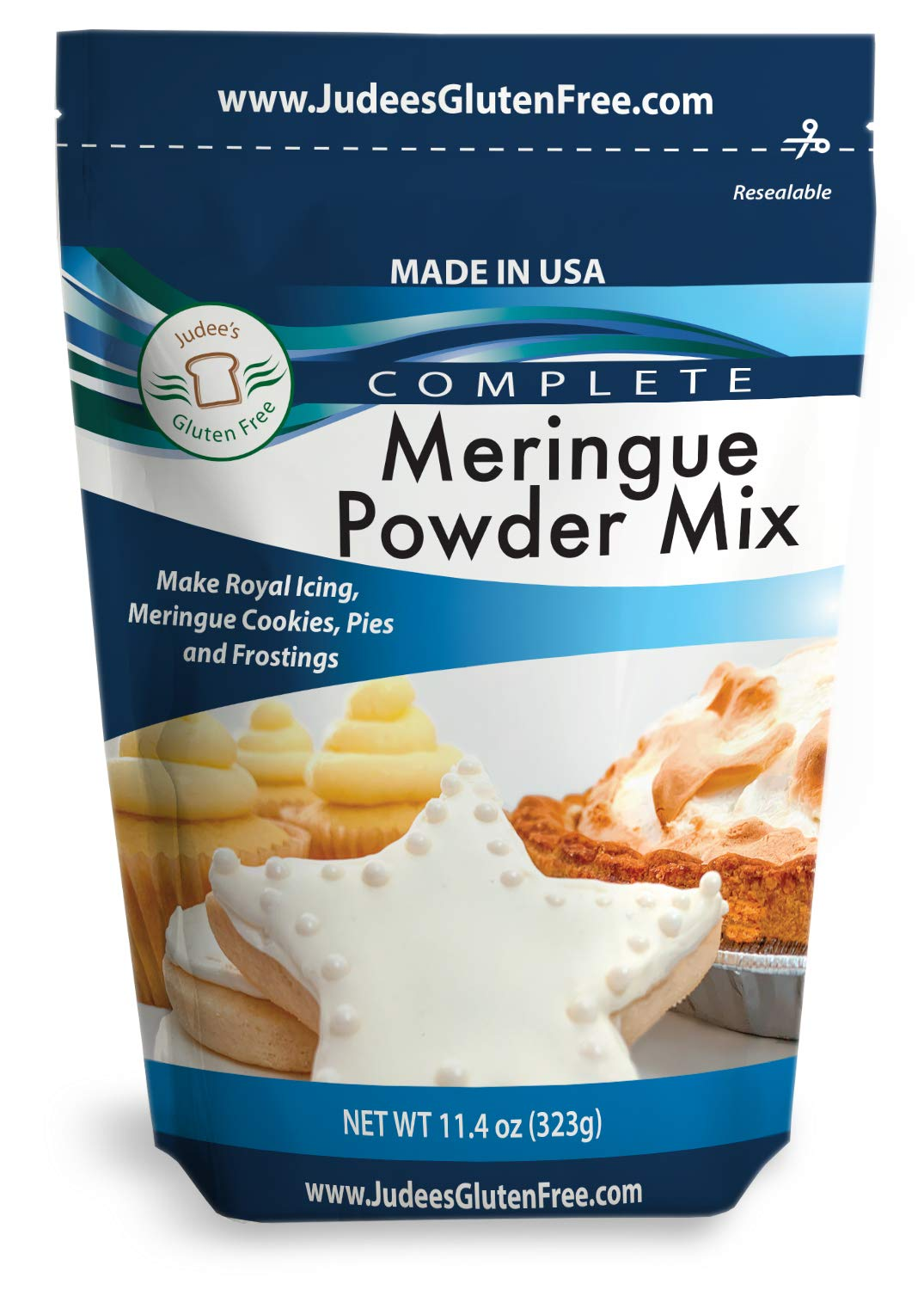 Judee's Meringue Powder Mix (11.4 Oz): Make Cookies, Pies, and Royal Icing. Complete Mix: Just Add Water. USA Made in a Dedicated Gluten & Nut Free Facility, No Preservatives, (10lb Bulk Size Also)