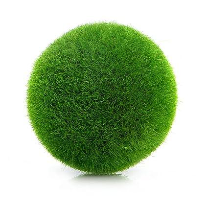 Techinal 1Pcs Artificial Decor, Moss Balls Potted Pot, Fake Grass Plant For  Aquarium U0026