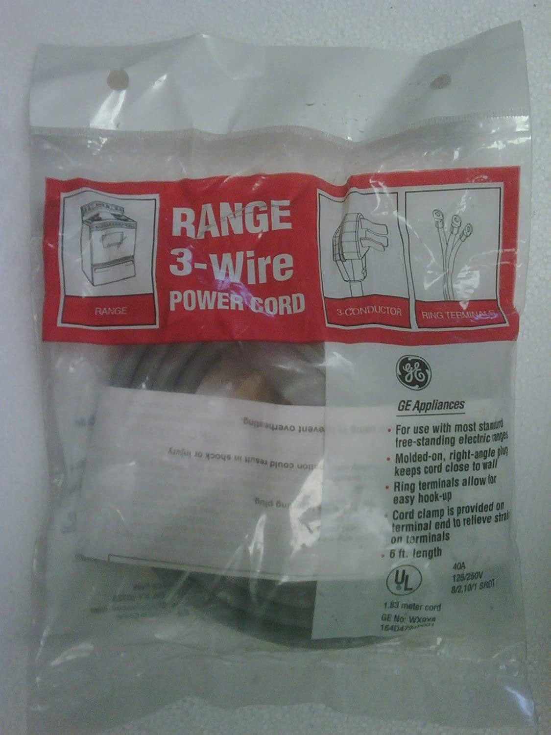 GE Range 3-Wire Power Cord WX9X8