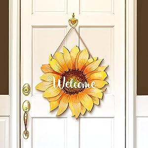 Jetec Sunflower Welcome Wood Door Hanger 12 Inch Large Wooden Flower Sign Inspirational Wall Porch Art Summer Fall Front Door Wreath Hanging for Bedroom Living Room Indoor Outdoor Kitchen Home