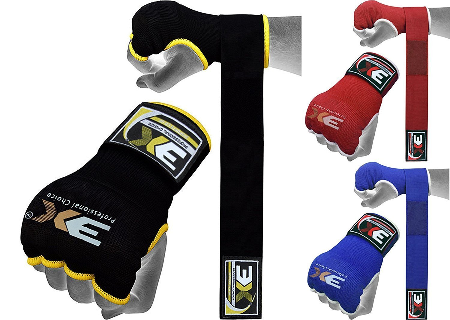 3X Professional Choice Hand Wraps Grappling Gloves MMA Martial Arts Muay THai Kick Boxing Inner Quick Wrist Wrap Bandages Gel Padded 3X Sports