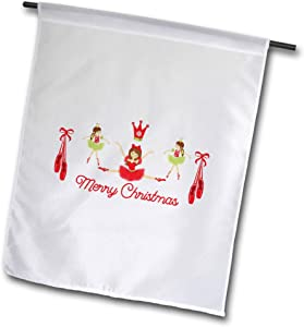 3dRose TNMGraphics Christmas - Three Ballerina Salute to Christmas in Red and Green - 12 x 18 inch Garden Flag (fl_299948_1)