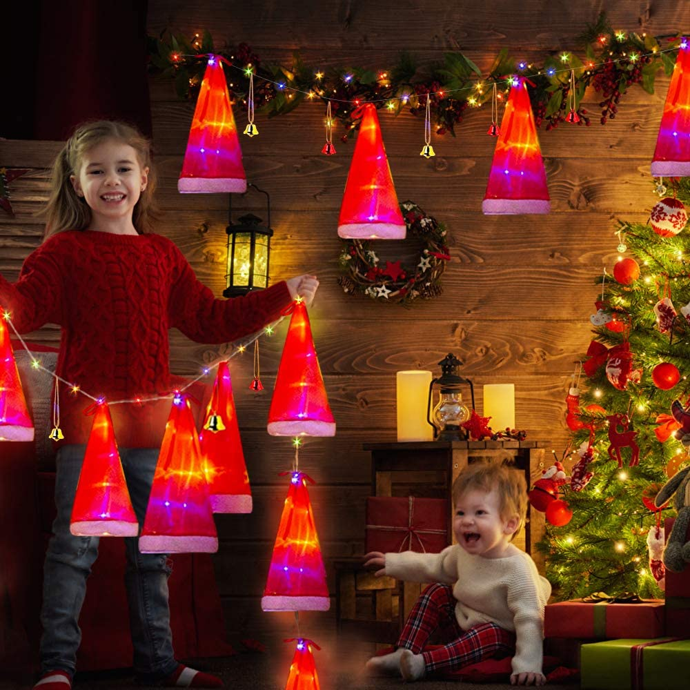 EBaokuup Christmas Santa Hat String Light Decoration - 8 Pieces Waterproof Christmas Hanging Glowing Santa Fairy Hat String Light Decor for Indoor, Outdoor, Garden, Patio, Yard, Tree and Home Party