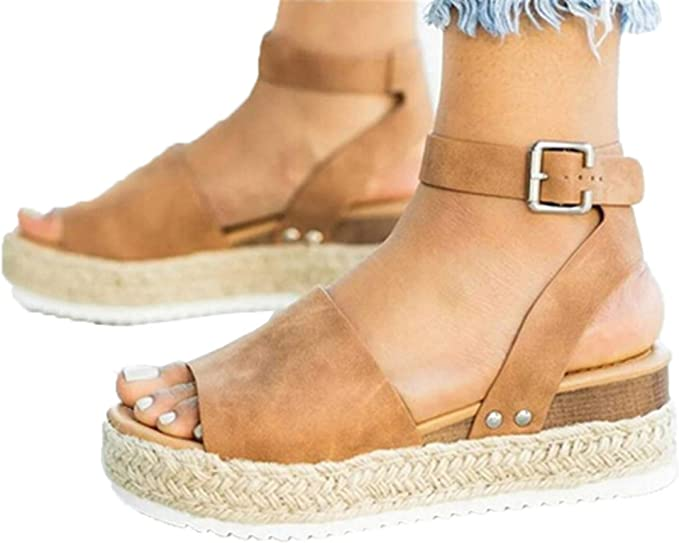 High Heel Sandals Dress Shoes for Womens Summer Peep Toe Ankle Buckle Sandals Thick Bottom Sandals by Gyouanime