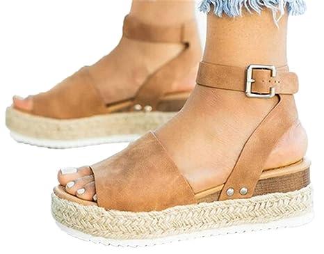 c98a9545ad7ea Amazon.com: HIgh Heel Sandals Shoes Womens Flat Thick Bottom Sandals ...