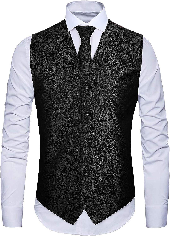 Enmain Mens Paisley Floral Jacquard Waistcoat /& Necktie and Pocket Square Vest Suit Set Wedding Party