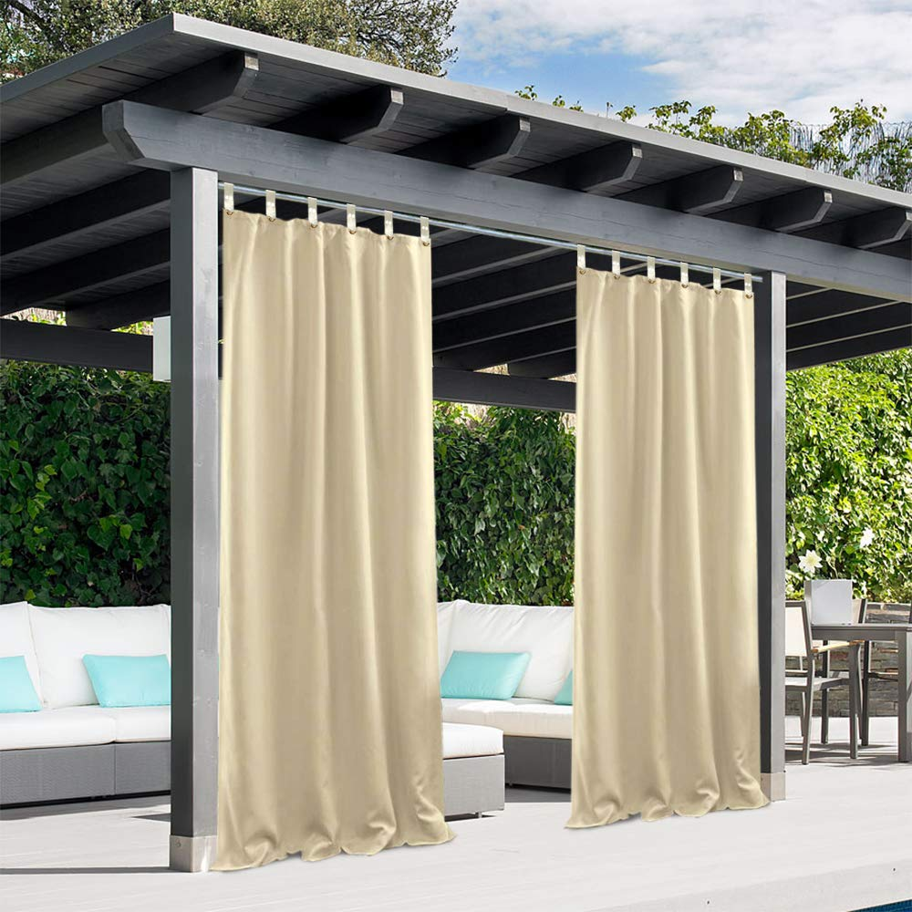 Pro Space Privacy Outdoor Single Window Curtain Panel 50x84-Inch Porch Patio Blackout UV Ray Protected Waterproof-Easy to Hang On,Don't Need to Remove Curtain Rod
