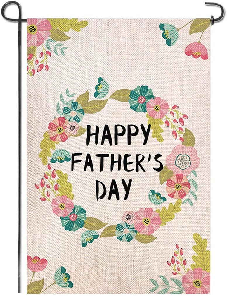 Shmbada Happy Father's Day Double Sided Burlap Garden Flag, Premium Material, Seasonal Holiday Spring Outdoor Flower Wreath Decorative Small Flags for Home Garden Yard Lawn Patio, 12.5 x 18.5 inch