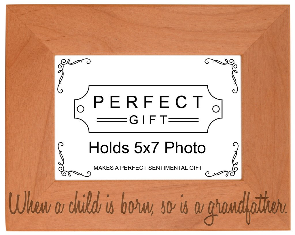 Gifts For All By Rachel Olevia Child Born So is Grandfather Natural Wood Engraved 5x7 Landscape Picture Frame Wood
