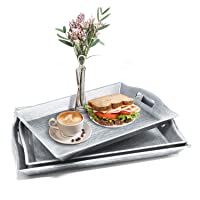 Set of 3 Large Serving Trays w/Handles Nesting Breakfast Serving Trays Afternoon...