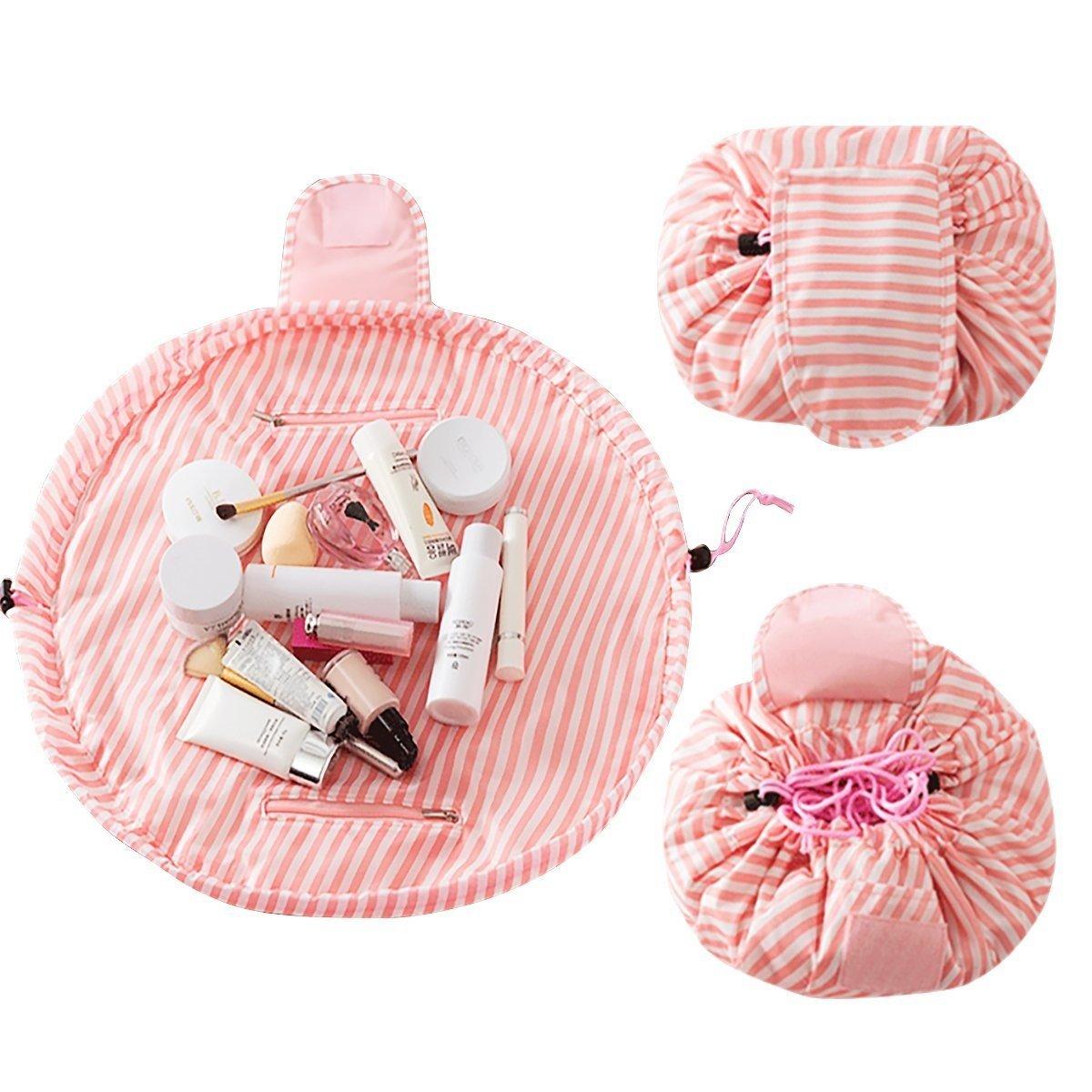 Naisidier Toiletry Bag Large Capacity Lazy Makeup Bag Portable Cosmetic Bag Multifunction Storage Portable Quick Pack Waterproof Travel Bag Drawstring Travel Organizer Storage Jewelery Cosmetic (Pink)