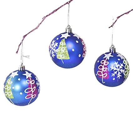 perfect holiday handpainted 3 piece shatterproof christmas ornament set 275 inch matte - Navy Blue Christmas Ornaments