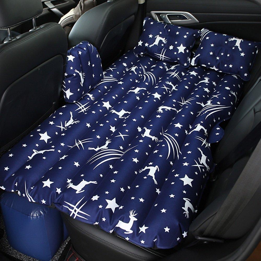 ZXQZ Auto-aufblasbares Bett-faltbares Erwachsenes Reise-Luft-Bett-Auto im Freien Stoßfestes Bett-Kinder-Anti-Fall-aufblasbares Bett Aufblasbares Bett (Farbe   Blau)