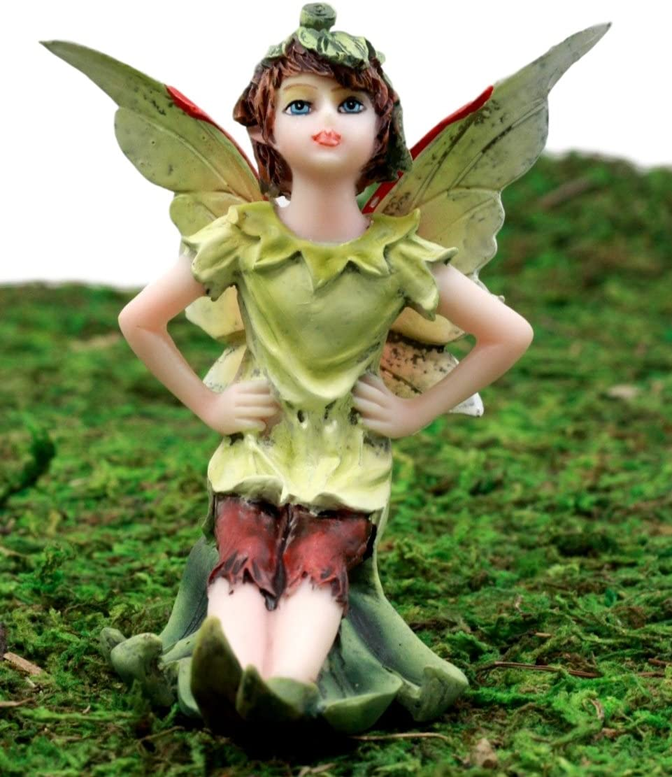 Ebros Gift Enchanted Fairy Garden Tinkerbell Green Elf Wishing Fairy Figurine 3.5