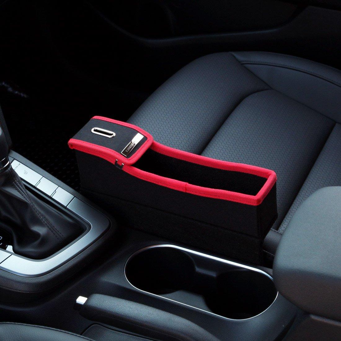 KMMOTORS Coin Side Pocket, Console Side Pocket, Car Organizer (Black Passenger Without Cupholder)