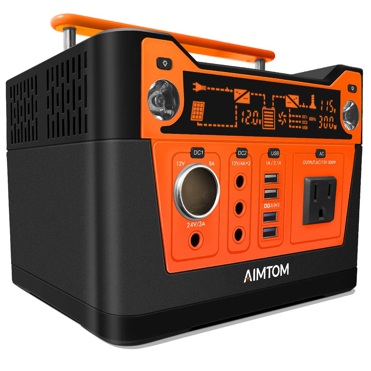 AIMTOM 300-Watt Portable Power Station – 280Wh Battery Powered Generator Alternative with 12V, 24V, AC and USB Outputs – Solar Rechargeable Lithium Backup Power – for Camping Outdoors RV Emergency