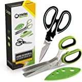 Kitchen Scissors Set with Kitchen Shears, Herb Scissors with Cleaning Brushes and Herb Stripper; Heavy Duty Stainless Steel Cooking Scissors Kit for Poultry, Vegetables, Salad Greens and Baby Food