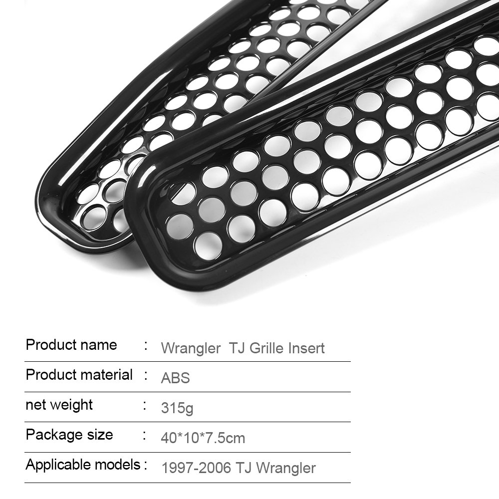 7PCS JeCar Black Front Grille Inserts Grill Mesh cover Honeycomb Kit for 97-06 Jeep Wrangler TJ /& Unlimited