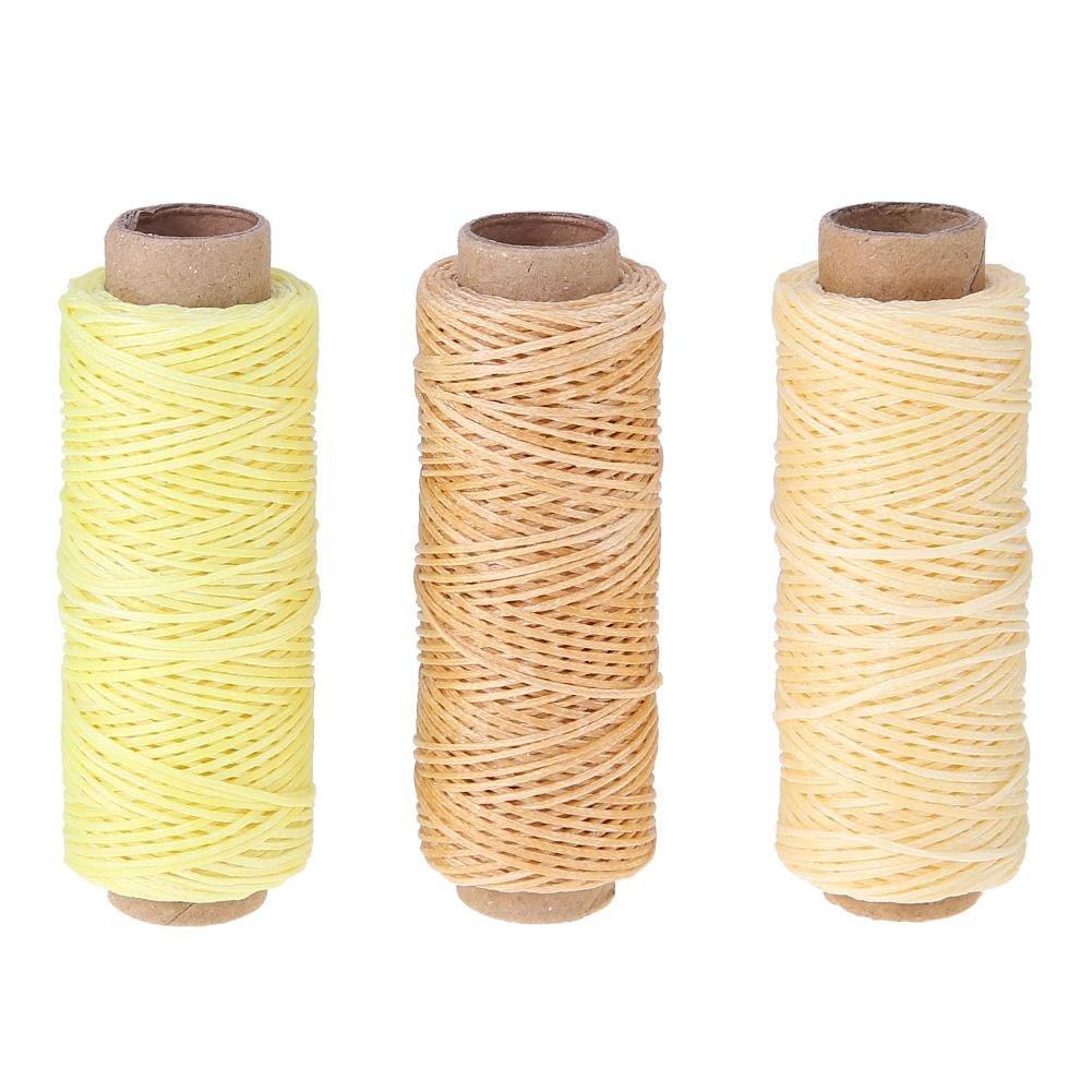 TTnight 50m/roll 150D Flat Waxed Thread Flat Sew Wax Line DIY Fiber Thread for Leather Purse Stitch