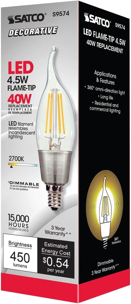 Satco 4.5W CA11 LED Clear Candelabra base 2700K 450 lumens 120V S9574