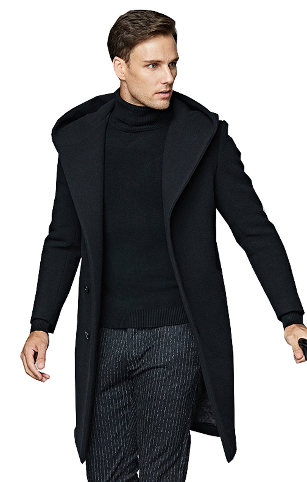 UNbox Mens Winter Slim Fit Long Woolen Trench Coat Business Down Jacket Black M by UNbox