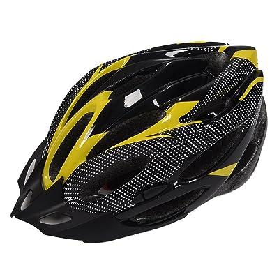 les casques de velo - JSZ Mode Sport Velo Bicyclette Casque de velo de securite avec fibre amovible Visiere Carbon pour Unisexe Adulte (Jaune)
