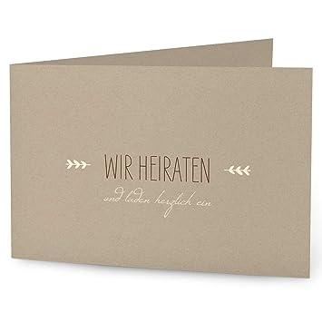 Hochwertige Einladungskarten Zur Hochzeit Im Edlen Kraftpapier Look