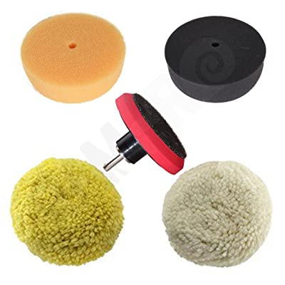 """Rampro 3\"""" Car Buffing and Wax Polishing Pad Kit - Drill Attachment Tool with Fastener Wheels: Automotive [5Bkhe0414941]"""