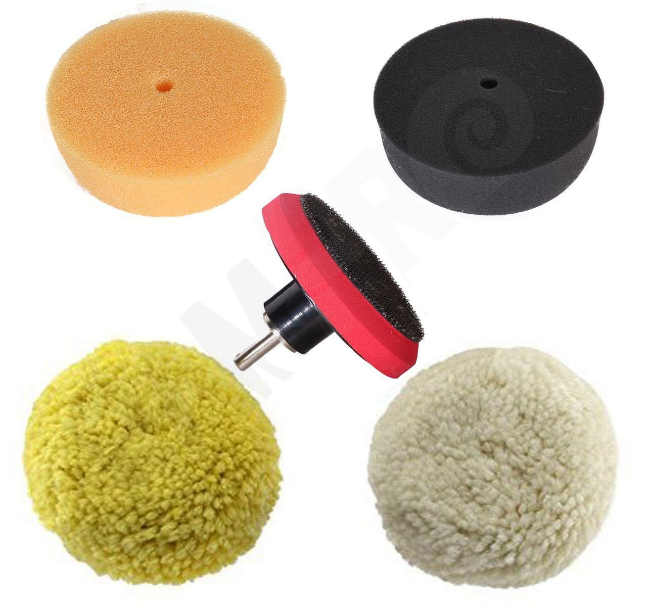 RAM-PRO 3'' Car Buffing and Wax Polishing Pad Kit - Drill Attachment Tool with Fastener Wheels