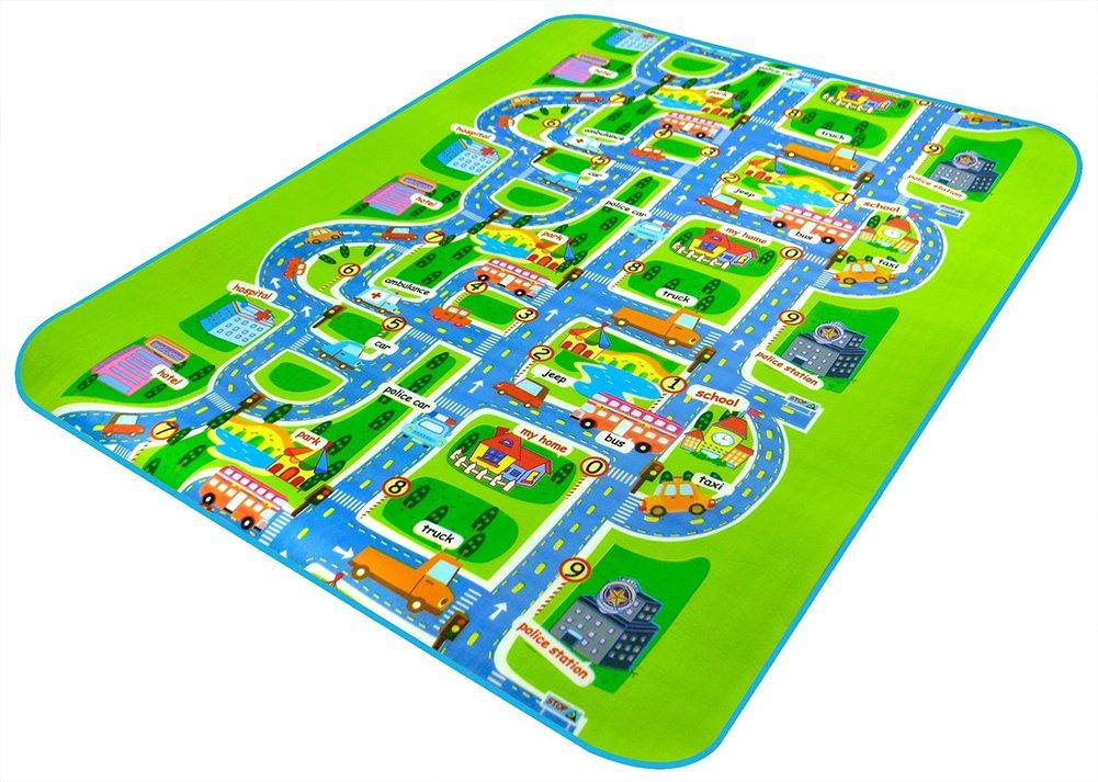 Alfombra infantil de 0,5cm, imagen de ciudad y tráfico, alfombra en relieve para que jueguen los niños, 200x 160cm AYUN