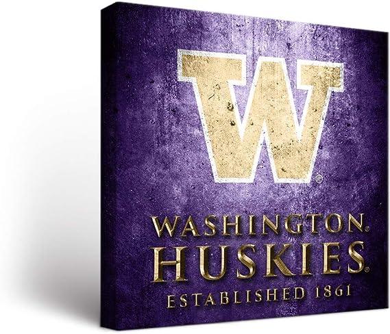 Washington Uw Huskies Canvas Wall Art Vintage Design