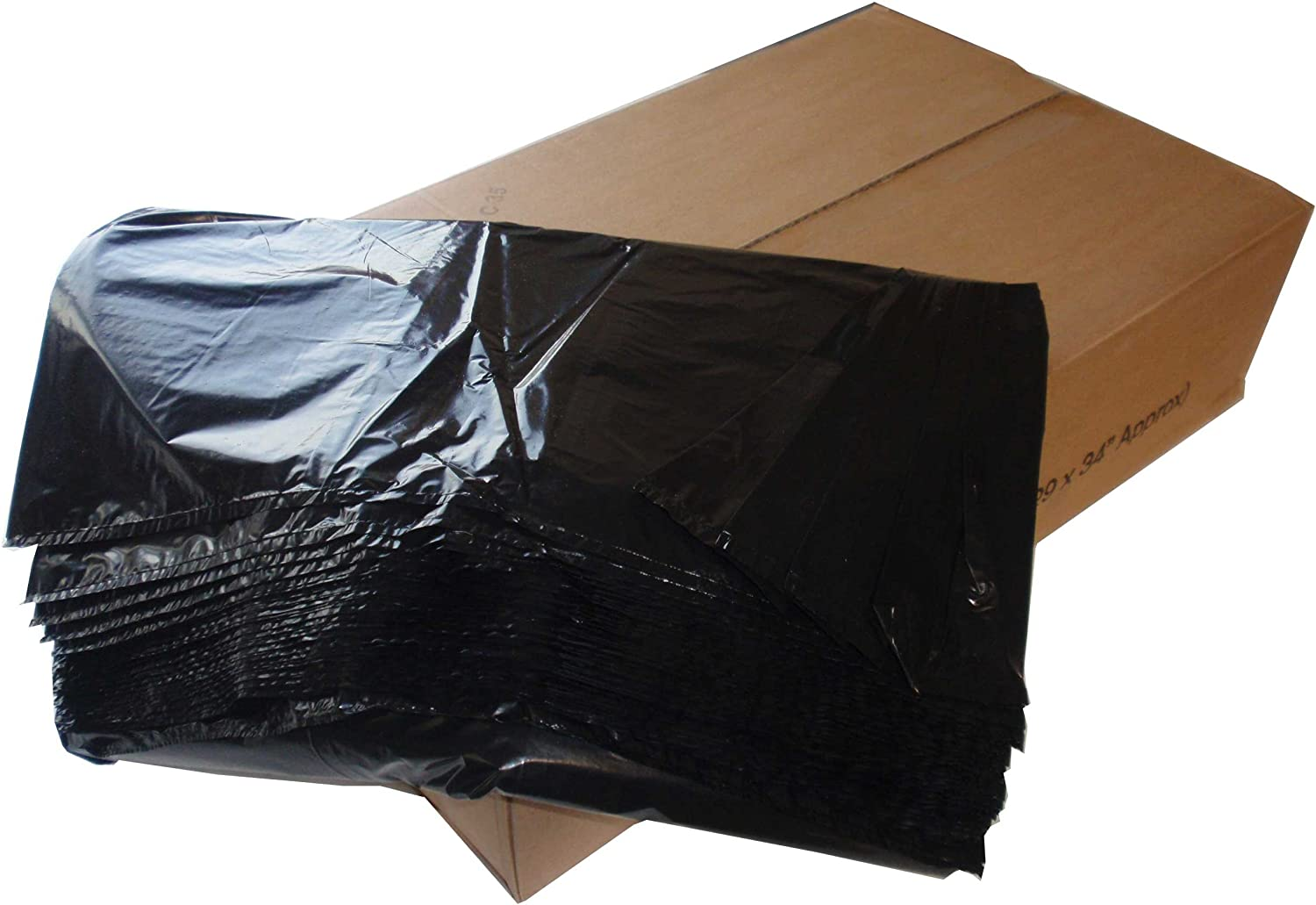 PACKAGING AND DISPOSABLES 200 Black Refuse Sacks Rubbish Bin Bags 120 gauge 18 x 29 x 39