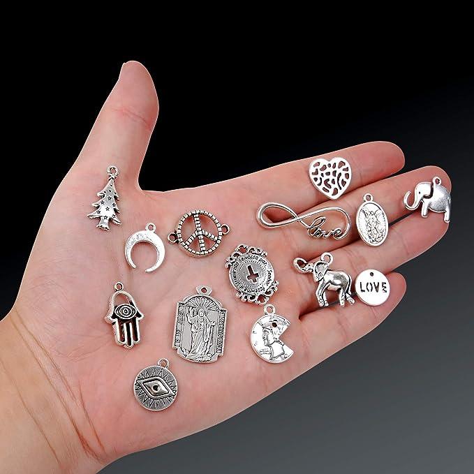 30x Tibetan Silver Wings Heart Key Pendant Charms Beads DIY Jewelry Making //763F