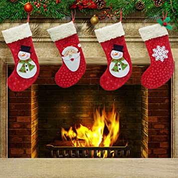 Zophor (TM) 3 piezas Árbol de Navidad para colgar calcetines/medias medias de Navidad regalo de Navidad para decoración de árbol de Navidad y chimenea: ...