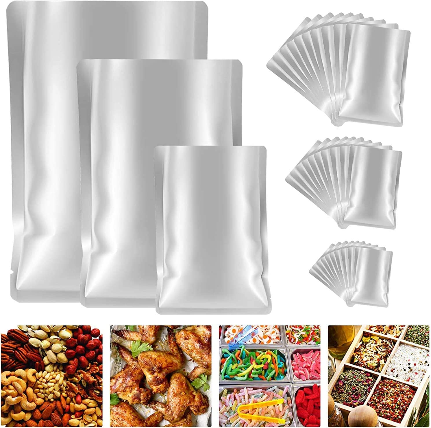 25 Pieces 3 Sizes Mylar Aluminum Foil Bags, Mylar Vacuum Seal Bags for Food Storage, Grain, Dried Flowers, Tea, Coffee Beans Storage Container (11''x8'', 9''x6'', 7''x5'')