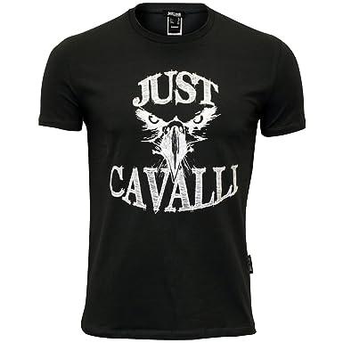 44858ab3 Just Cavalli Men's Silver Hawk Silhouette Crew-Neck T-Shirt, Charcoal Grey  Medium