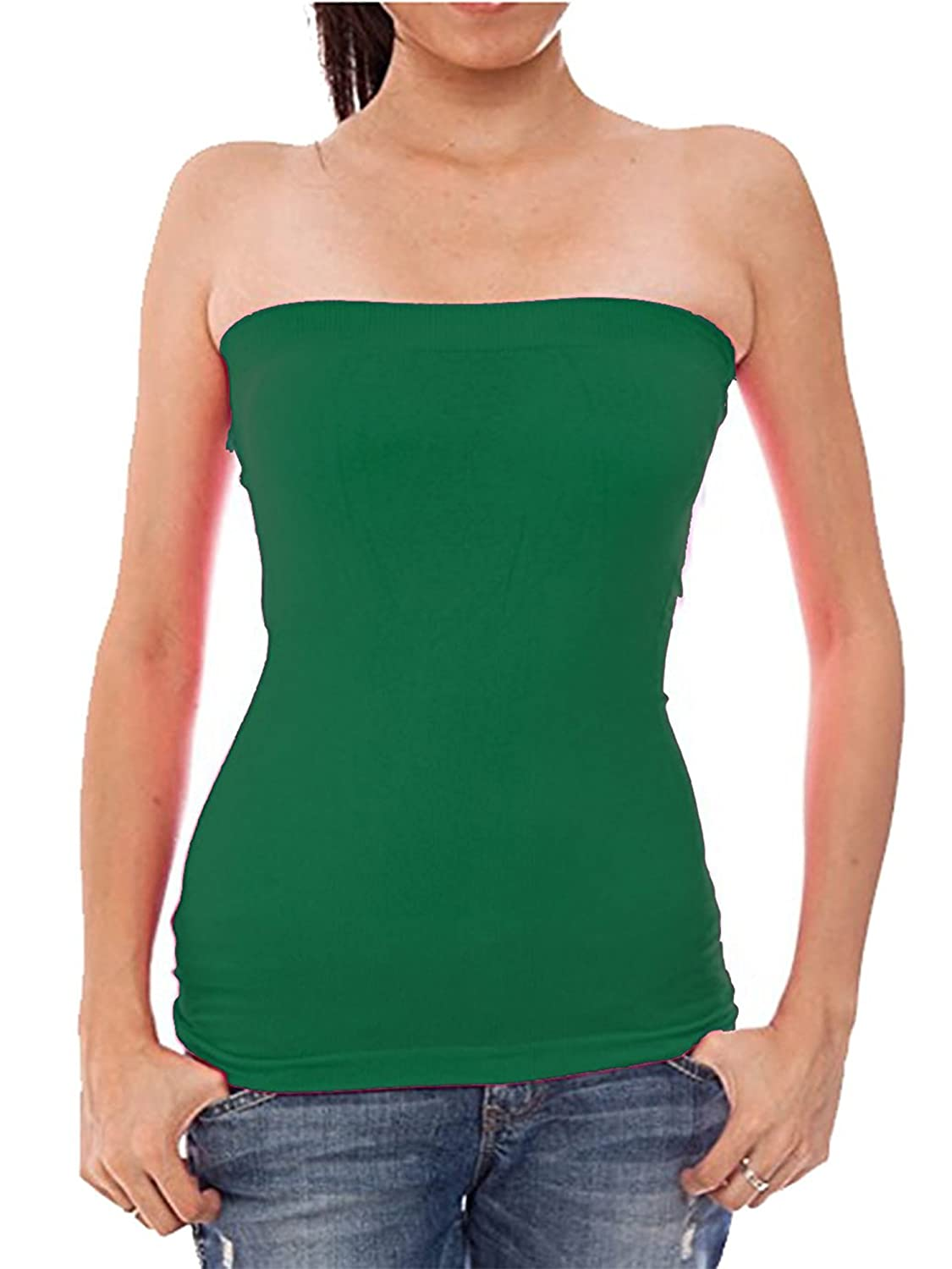9153930274 Hollywood Star Fashion Womens Plain Stretch Seamless Strapless Layer Tube  Top