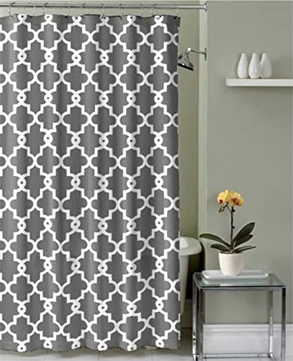 Ruthys Textile Geometric Patterned Shower Curtain Grey