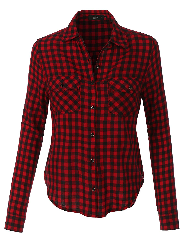 993bd5d8 LE3NO Womens Lightweight Plaid Button Down Long Sleeve T Shirt: Amazon.co.uk:  Clothing