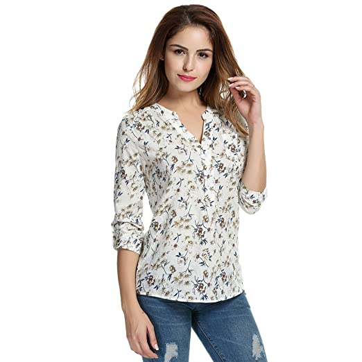 61c5772e Meaneor Women Floral Print Blouse Tops 1950s 60s Vintage Autumn Clothing  Casual Roll Up Sleeve Cotton Fabric Blouse at Amazon Women's Clothing store: