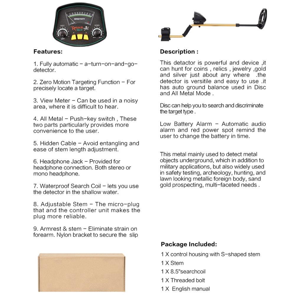 SHUOGOU MD3009II Detector de Metales de Discriminación Avanzada Subterráneo, Pantalla LCD y gran Bobina Impermeable Con Pala Plegable: Amazon.es: Jardín