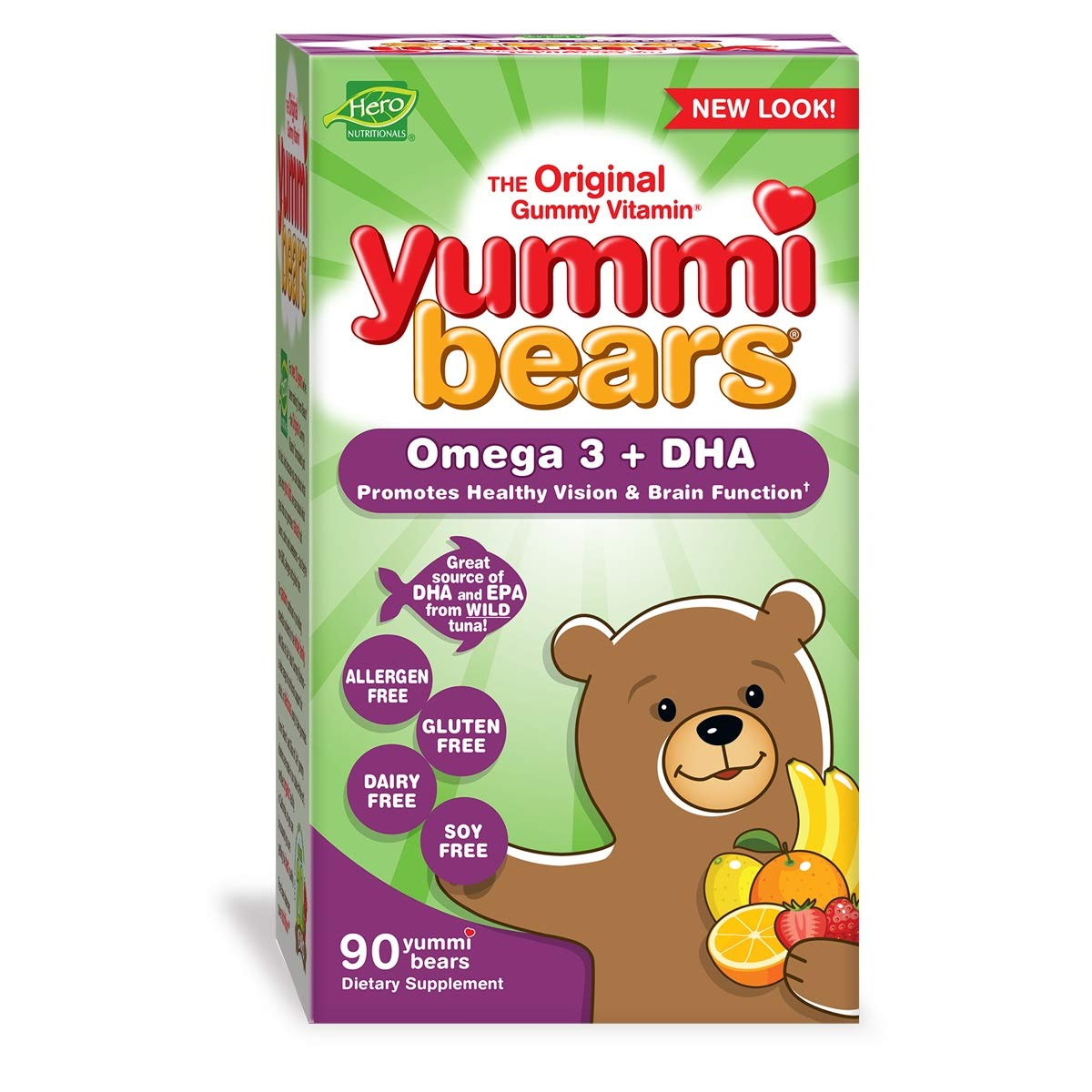 Yummi Bears Omega 3 + DHA Gummy Vitamin Supplement for Kids, 90 Gummies