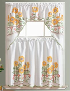 3pcs Kitchen Curtain / Cafe Curtain Set, Air Brushed By Hand Of Sunflower  Design