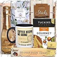 Food Gift Hamper with Moscato, Chocolate, Crackers and Home Gifts for Women; Drink Hamper Box Filled with Coffee Mug and Gourmet Snacks